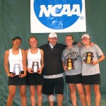 Pictured (l to r): Lauren Hom, Kara Smiley, Coach Carlson, Tara Houlihan, Lyndsey Palen