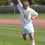 Senior Caleb Bousu celebrates after scoring the lone Gustavus goal.