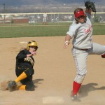 Julie Mahre steals third base
