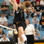 Meghan Gehring and Britta Bolm going up for a block.