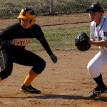Gustavus runner leads off third base.