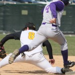 Pat Siering stretches to nip a St. Thomas baserunner at first base in game one. (Brian Fowler Photo)