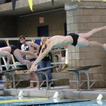 A Gustie swimmer gets off to a fast start.