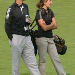 Moe talking on the course with 2009 All-American Kimbra Kosak