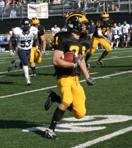 Welch breaks open down the sideline for his 87-yard TD return against Carleton.