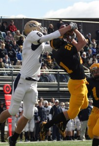 Joe Welch intercepts a pass in the Gustavus end zone early in the game.