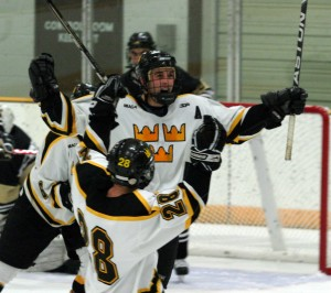 David Martinson celebrates one of his four goals against the Oles.