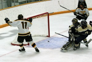 David Martinson scores the first of his four goals.