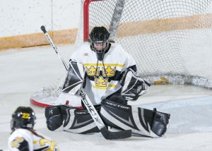 Danielle Justice (pictured here) and Emily Klatt give the Gusties one of the strongest goaltending tandems in the country.