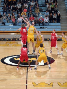 Sam Paulsen gets the opening tip for the Gusties.