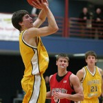 Seth Anderson sets up for a jumper in the 69-40 Gustavus victory over Bethany Lutheran