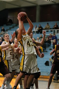 Laymanbrings down one of her 10 rebounds.