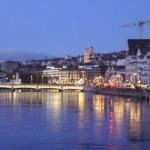 Zurich waterfront lit up on New Year's Eve
