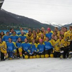 Women's Hockey Team at outdoor rink in Ascona, Switzerland