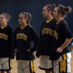 Seniors Bri Radtke, Amber Steffenhagen, Katie Layman and Julia Schultz were honored before the game.