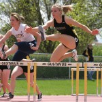 Janey Helland competing in the 400-meter hurdles