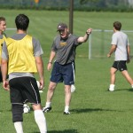 First-year Head Coach Mike Middleton instructs his players during the Gusties first practice of 2010.