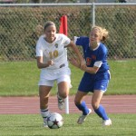 Ashley Anders battles with Macalester's Matea Wasend
