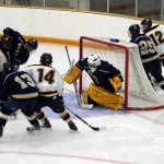 Gusties put pressure on Blugold netminder Brandon Stephenson