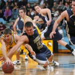 Seth Anderson battles Andy Puhrmann of Buena Vista for a loose ball.