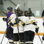 The Gusties celebrate Tam Meuwissen's game-winning goal in the first period.