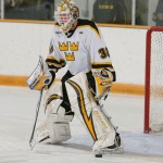 Senior goalminder Josh Swartout enters the weekend with an impressive 6-0-0 career record against Augsburg