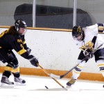 Amanda Cartony battles a UW-Superior for possession of the puck in the first period.