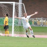 Lucas Thompson celebrates a goal in Gustavus' 7-0 win over Concordia.