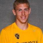 Gustavus frosh Zack Brown scored both Gustavus goals in the 2-1 overtime win over Saint John's on Saturday in Collegeville, Minn.