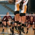 Angela Ahrendt and Malea Noennig go up for a block on Saturday against Augsburg