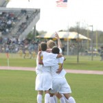 The Gusties celebrate following Gabe Steinborn's game-winning goal on Saturday against Augsburg.