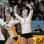 Malea Noennig back-sets to hitter Emily Gilman in Gustavus' 3-0 win over St. Catherine on Wednesday night.