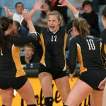 Emily Phillips celebrates after one of her match-high 19 kills of the afternoon.