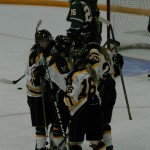 The Gusties celebrate after a goal.