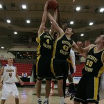 Seth Anderson (#4) and Ben Biewen (#43) attempt to bring down a rebound on Wednesday night in Fabulous Las Vegas.