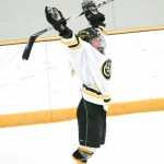 Kelsey Kennedy celebrate after scoring a power play goal in the second period.