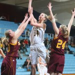 Abby Rothenbuehler goes up for a layup against the Cobbers. Photo courtesy of Sport PiX