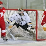 Gustavus goaltender John McLean made 26 saves in his first career MIAC Playoff start.