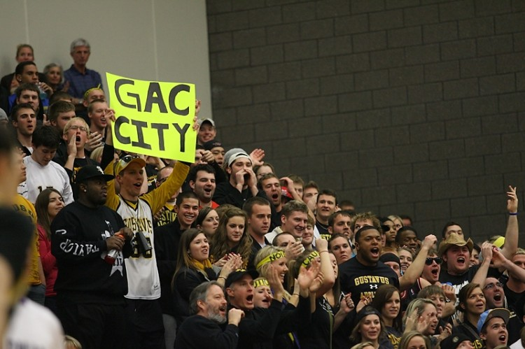 Although the Gustie faithful turned out in full force for Sunday's MIAC Championship game, an even stronger student-body presence is expected to be inside UW-River Falls' Karges Center for Friday's NCAA Tournament first round game.  Photo courtesy of Caleb Williams, d3photography.com.