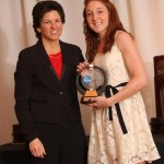 Marach Sobczak accepts the Elite 89 Award from NCAA Assistant Diector of Championships Jan Gentry on Thursday night at the NCAA Championship banquet.