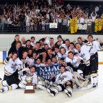The 2012 MIAC Playoff Champion Gustavus men's hockey team. Photo courtesy of A.J. Dahm of Sport PiX.