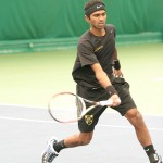 Amrik Donkena battled back against UW-Eau Claire to claim the win at No. 1 singles.