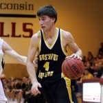 Seth Anderson led the Gusties with 22 points on 10-of-22 shooting in Friday night's season-ending loss to Wheaton College.  Photo courtesy of A.J. Dahm of Sport PiX.