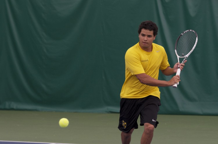 Juan Luis Chu eyes up a back-hand Saturday at the Swanson Tennis Center. Photo courtesy of Jeff Hunt (J-Buddy Photgraphy)