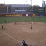 The Gustavus softball team swept St. Scholastica by scores of 11-3 and 6-2 on Monday at the U of Minnesota.