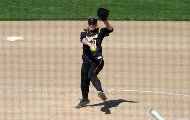 Kate Rentschler earned her eighth win of the season with Gustavus' 6-5 victory in game two of Friday's doubleheader against Concordia.