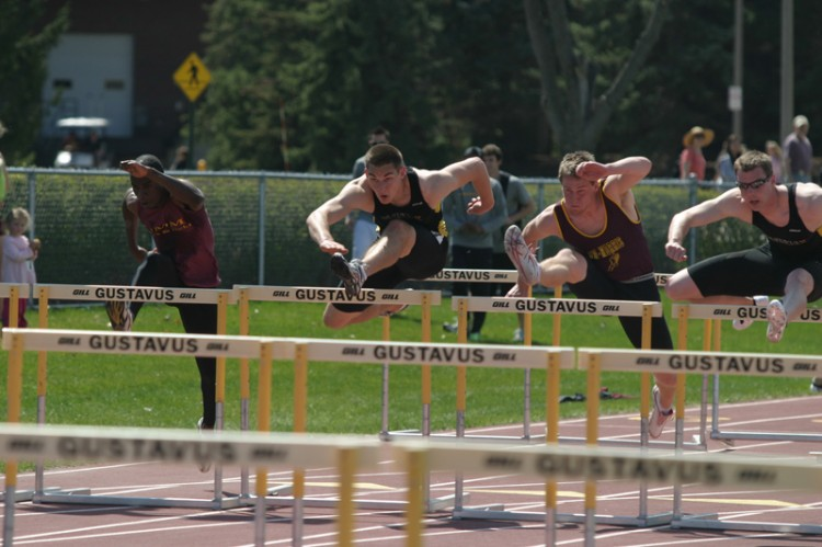 Gustavus' Steve Groskreutz leads the way in the 110-meter hurdles.
