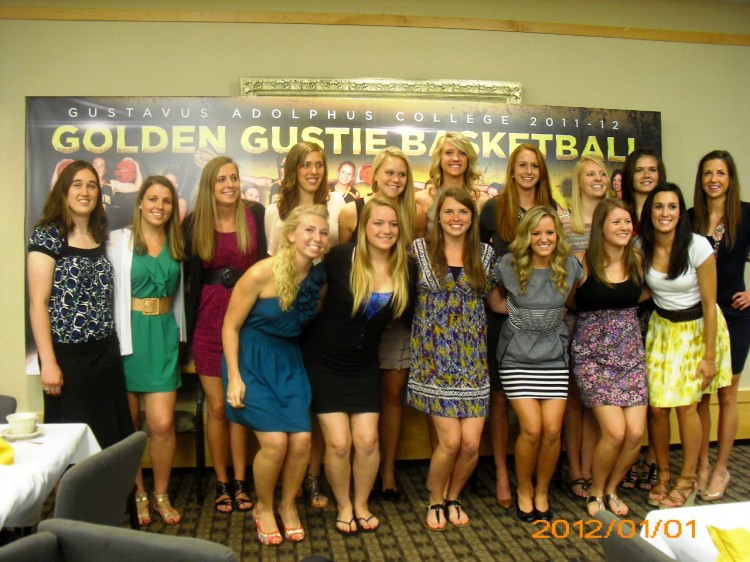 The 2011-12 Gustavus women's basketball team at its annual awards banquet.