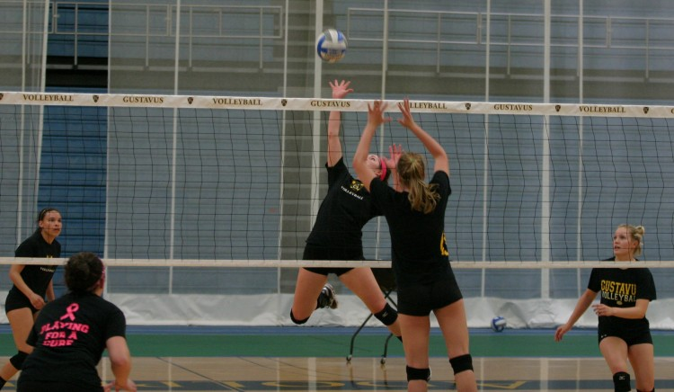 The Gustavus volleyball team in action during spring practice.