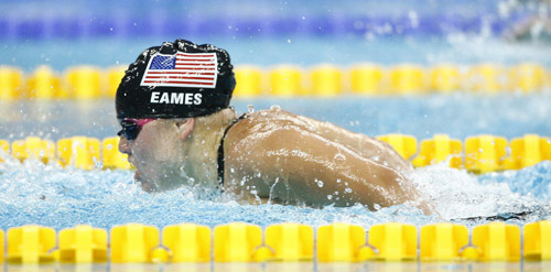 (080908) -- BEIJING, Sept. 8, 2008 (Xinhua) -- Anna Eames of the United States competes during the S10 final of women's 100m butterfly of the Beijing 2008 Paralympic Games at the National Aquatics Center in Beijing, Sept. 8, 2008. She won the gold medal of the event with 1 min 09.44 seconds. (Xinhua/Ding Xu) (txy)